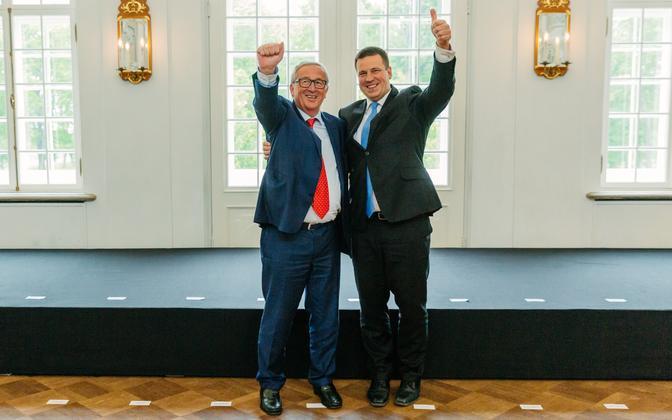 Euroopa Komisjoni president Jean-Claude Juncker ja peaminister Jüri Ratas Tallinnas eesistumise avavisiidil.