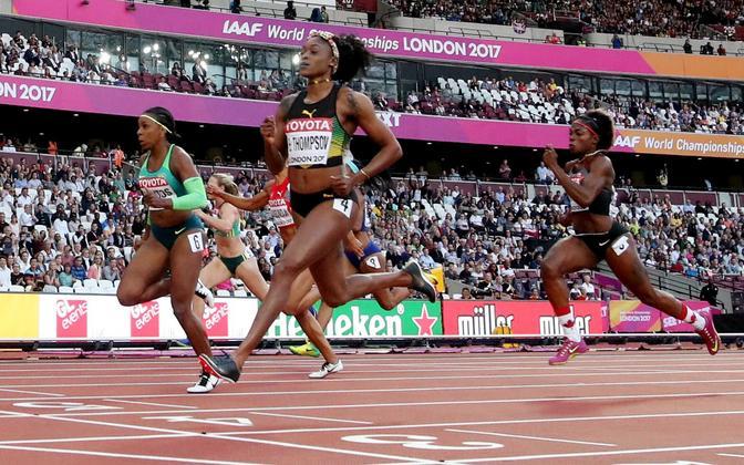 Elaine Thompson võitis naiste 100 meetri jooksu teise poolfinaali