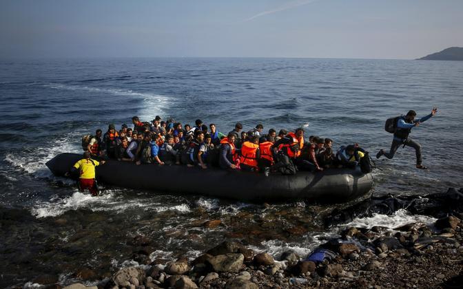 Migrantide paat Lesbose saarel 2015. aasta oktoobris.