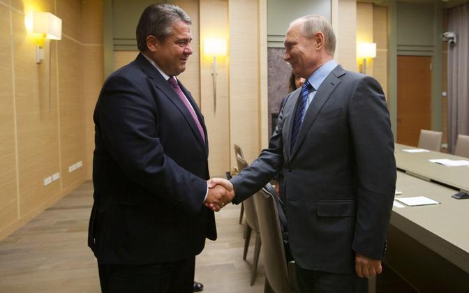 Sigmar Gabriel ja Vladimir Putin 2016. aasta septembris Venemaal. Siis oli Gabriel veel majandusminister.