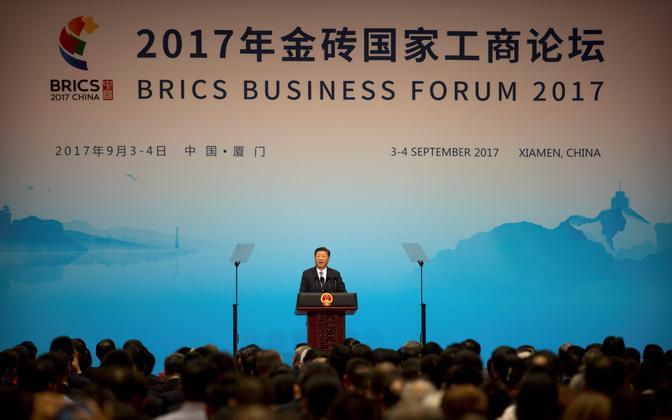 Hiina president Xi Jinping BRICS-i liidrite tippkohtumise eel toimunud ärifoorumil.