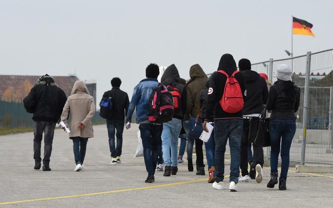 Asylum-seekers arriving in Germany.