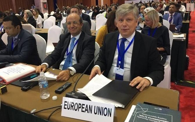 Director-General of the European Commission's Directorate-General for Environment (DG ENV) Daniel Calleja Crespo and Estonian Minister of the Environment Siim Kiisler (IRL) opened Monday morning's high-level conference. Sept. 11, 2017.