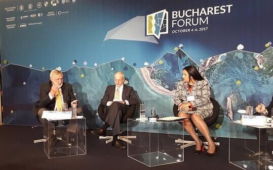 Estonian Deputy Minister for EU Affairs Matti Maasikas (center) at the Bucharest Forum in Romania. Oct. 6, 2017.