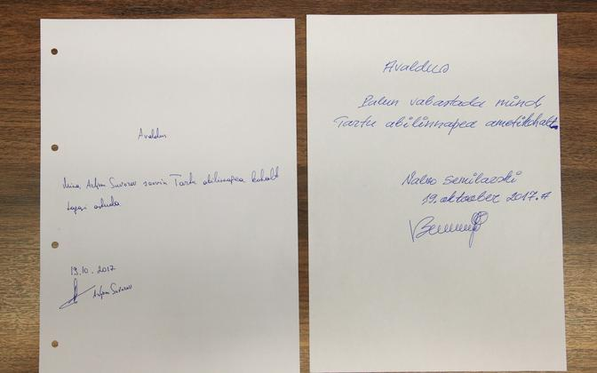 Suvorov and Semilarski's resignations. The two submitted them on Oct. 19 while still under arrest.