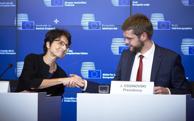 Commissioner Marianne Thyssen and Jevgeni Ossinovski, Oct. 23, 2017.
