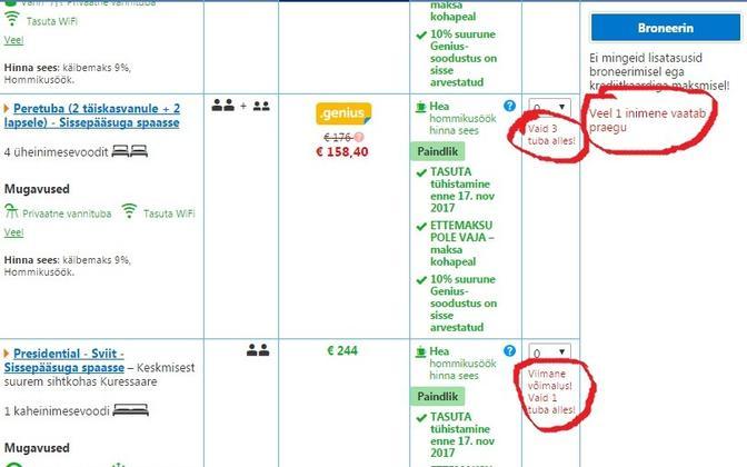 booking.com hoiatab, et keegi samal ajal vaatab sama tuba.