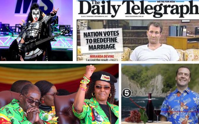 Gene Simmons (AFP/Scanpix), Al Bundy Austraalia ajalehe esiküljel sooneutraalse abielu üle mõtisklemas, Robert ja Grace Mugabe käesoleva aasta suvel võimutäiust nautimas (Reuters/Scanpix), kollaaž Dmitri Medvedevist Aleksei Navalnõi filmis.