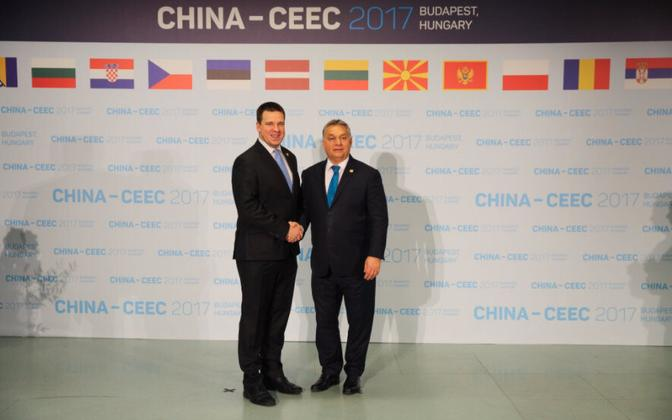 Jüri Ratas at the China-CEEC 16+1 forum in Budapest on Monday. Nov. 27, 2017.
