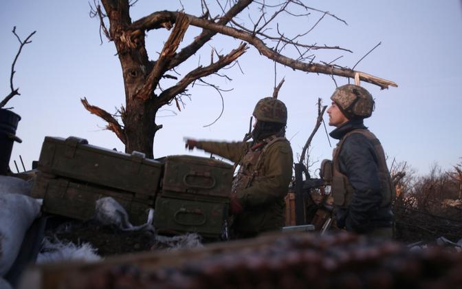 Ukraina sõdurid rindejoonel Avdijivka lähistel.