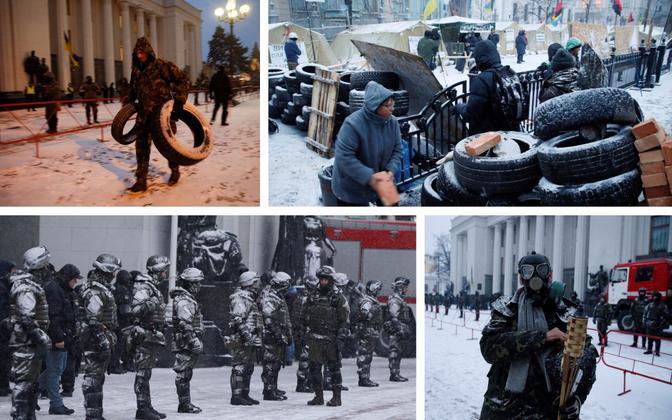 Mihheil Saakashvili toetajate laager Kiievis ülemraada hoone juures 6. detsembril.