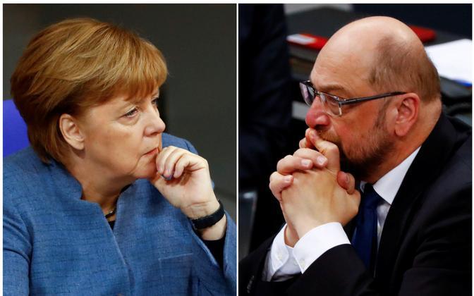 Angela Merkel ja Martin Schulz.