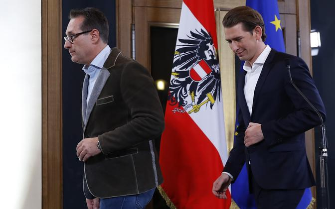 Vabaduspartei (FPÖ) juht Heinz-Christian Strache (v) ja Rahvapartei juht (ÖVP) Sebastian Kurz.