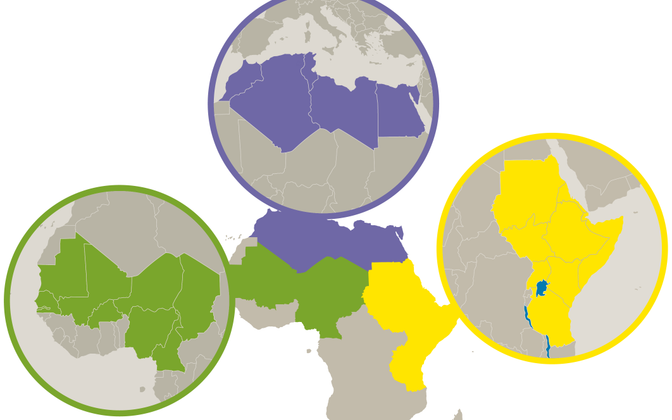 Blind map of the EU Emergency Trust Fund for Africa as of 2015.