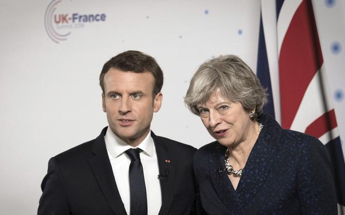 Prantsuse president Emmanuel Macron ja Briti peaminister Theresa May.