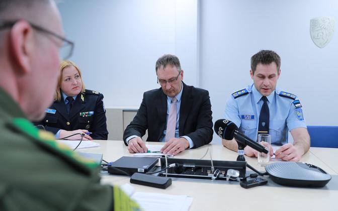 PPA Director General Elmar Vaher and colleagues at a press briefing on Friday. Feb. 2, 2018.