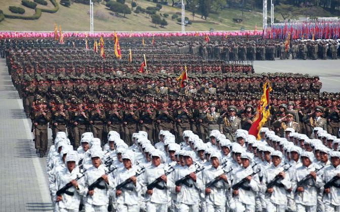Põhja-Korea sõjaväelased paraadil.