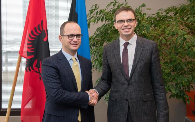 Albanian Minister of Foreign Affairs Ditmir Bushati with Minister of Foreign Affairs Sven Mikser in Tallinn on Wednesday. Feb. 7, 2018.