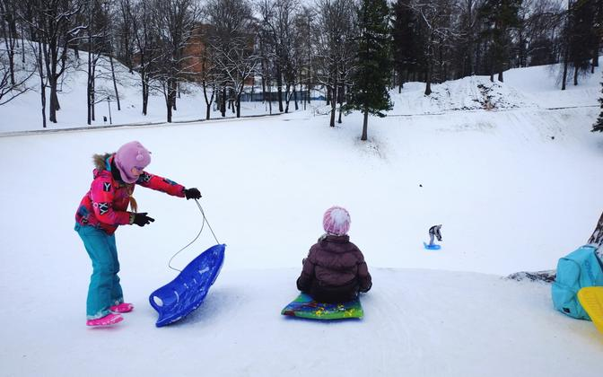 Kids watching other sledders sled down Kassitoome Hill on Shrove Tuesday in Tartu. Feb. 13, 2018.