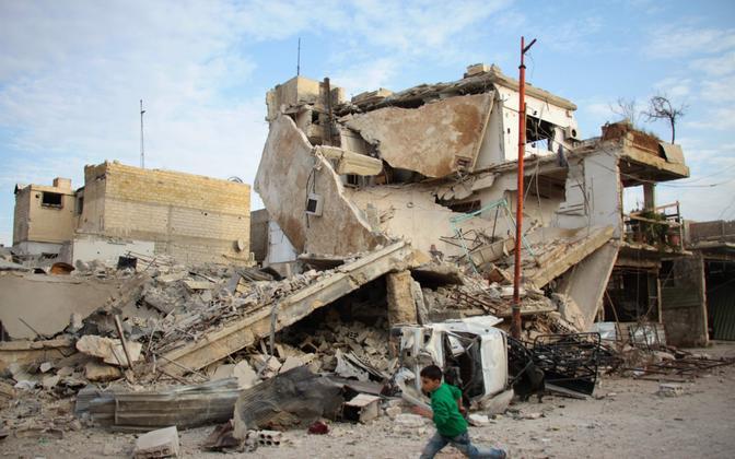 Laps Ida-Ghouta piirkonnas 20. vebruaril.