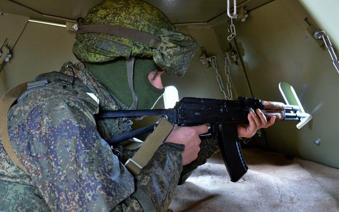 Vene sõdur õppusel, arhiivifoto.