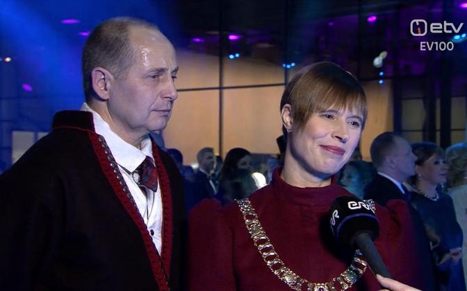 President Kersti Kaljulaid and her husband Georgi-Rene Maksimovski at the Estonia 100 reception. Feb. 24, 2018.