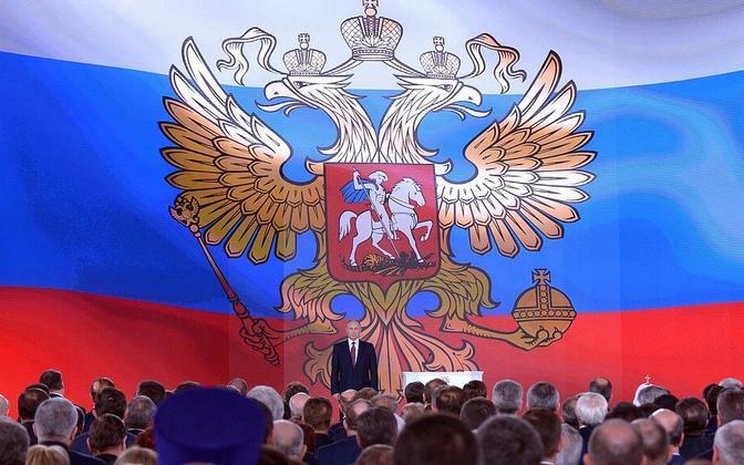 Venemaa president kõnelemas Venemaa juhtidele 1. märtsil.