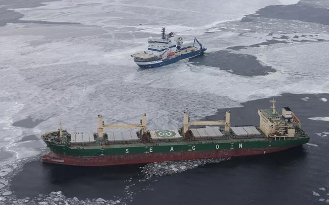 Finnish and Estonian ships are going to the rescue of the Glory Hongkong on the Gulf of Finland. March 8, 2018.