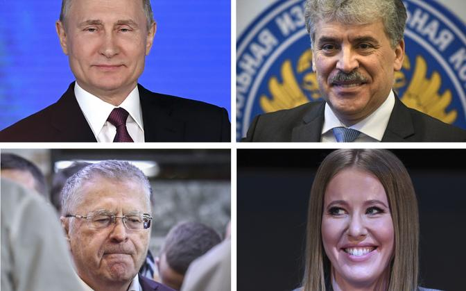 Venemaa presidendiks kandideerivad Vladimir Putin, Pavel Grudinin, Vladimir Žirinovski ja Ksenia Sobtšak.