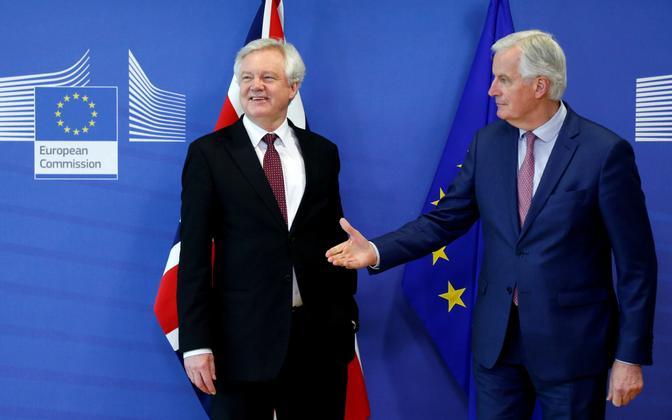 Brexiti-minister David Davis ja EL-i pealäbirääkija Michel Barnier 19. märtsil Brüsselis.