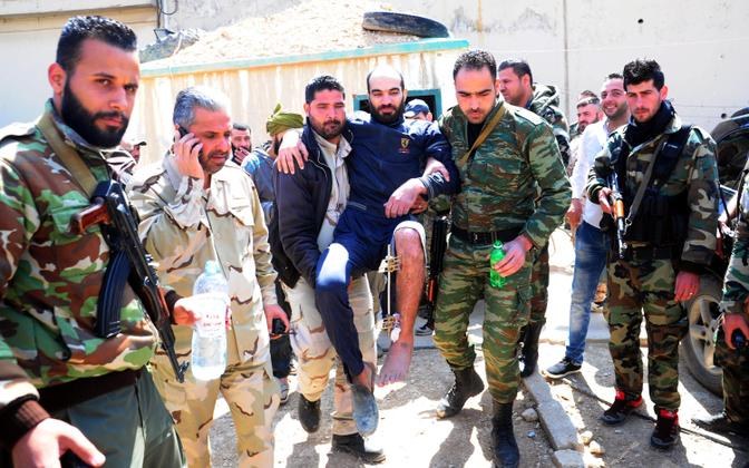 Süüria sõjaväelased Ida-Ghoutas.