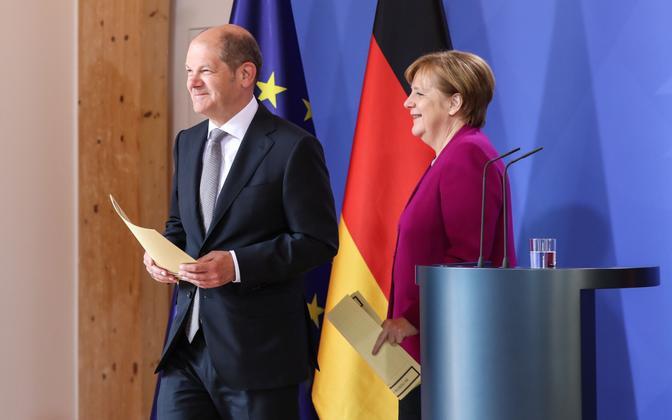 Saksa rahandusminister Olaf Scholz (SPD) ja liidukantsler Angela Merkel (CDU).