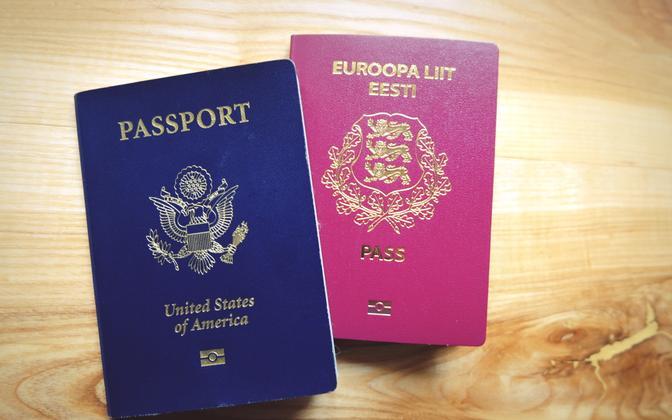 USA ja Eesti pass.