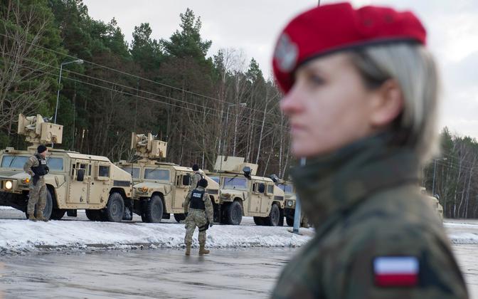 USA üksuse saabumine Poola 2017. aasta jaanuaris.