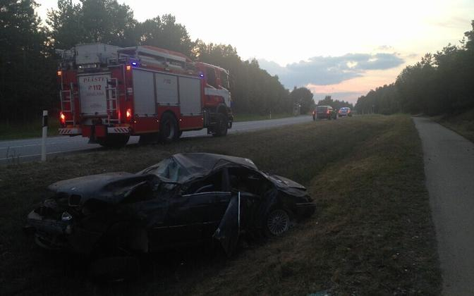 The BMW involved in the second fatal accident on Sunday
