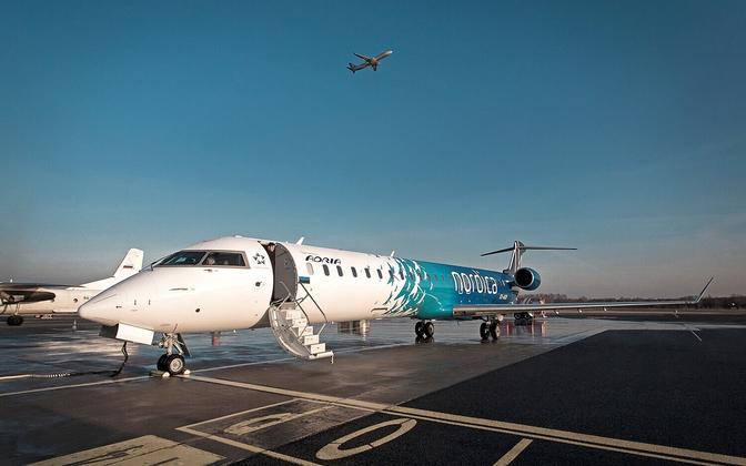 Nordica lennuk Tallinna lennujaamas.