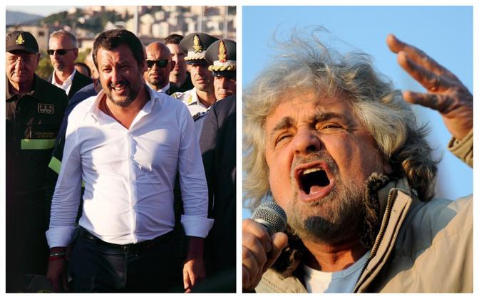 Liiga juht Matteo Salvini (vasakul) ja M5S asutaja Beppe Grillo.