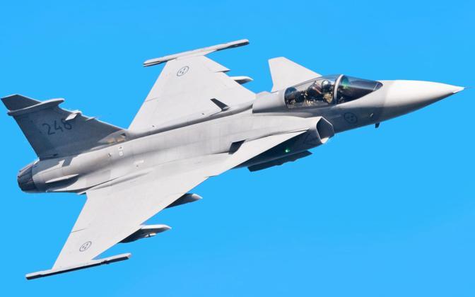 Rootsi hävituslennuk JAS 39 Gripen, arhiivifoto.