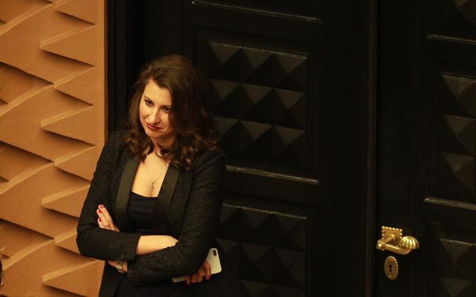Olga Ivanova in the Session Hall of the Riigikogu.