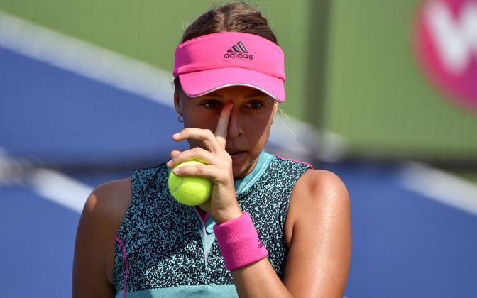 Annett Kontaveit at the US Open on Tuesday.