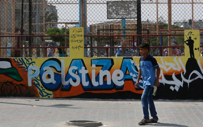 Palestiina poiss UNRWA kooli juures Rafah' põgenikelaagris.