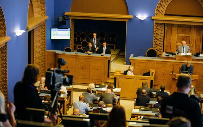 Riigikogu members in session.