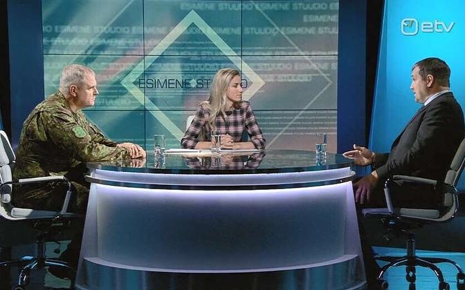 Gen. Riho Terras (left) and ISS deputy director-general Martin Arpo on ETV, 5 September 2018.