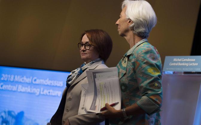 Venemaa keskpanga president Elvira Nabiullina ja IMF-i juht Christine Lagarde.