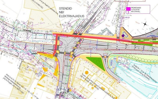 Reidi tee eskiisilahenduse Ahtri, Jõe ja Lootsi tänava ristmikku puudutav osa.