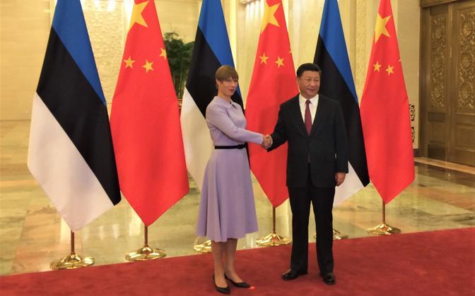 President Kersti Kaljulaid in Beijing with Chinese President Xi Jinping on Tuesday. 18 September 2018.
