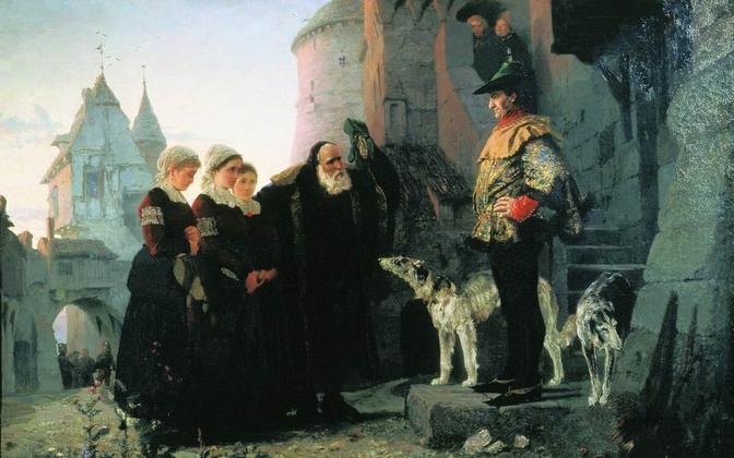 """Vana mees toob oma noore tütre feodaalsele isandale. Vasily Polenovi """"Le droit du Seigneur"""" (1874)."""