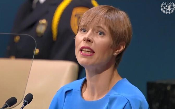 Kersti Kaljulaid at the UN, September 2018.