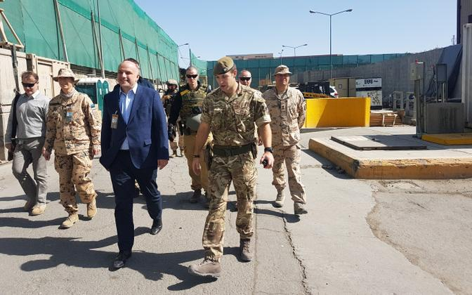 Then-Minister of Defence Jüri Luik visits Estonian troops in Afghanistan. October 2018.