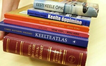 Estonian (and other) dictionaries and language books (picture is illustrative).